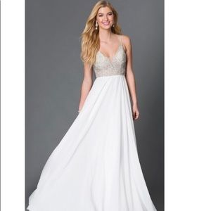 Jovani white chiffon and beaded gown